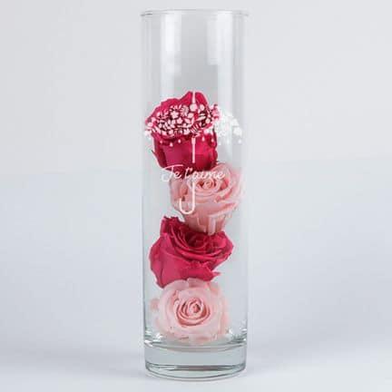 Roses éternelles et leur vase gravé personnalisable
