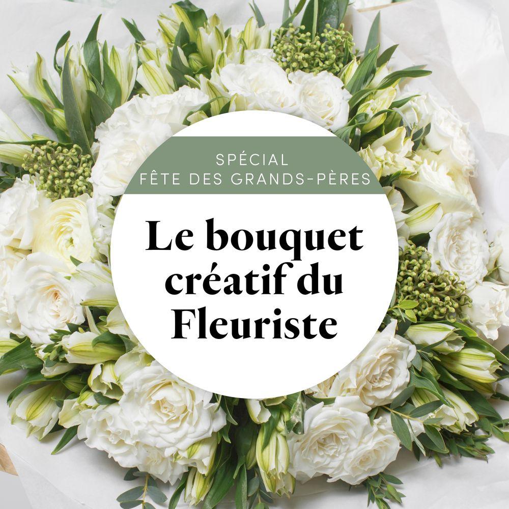"""Bouquet blanc du fleuriste """"Spécial Fête des grands-pères"""""""