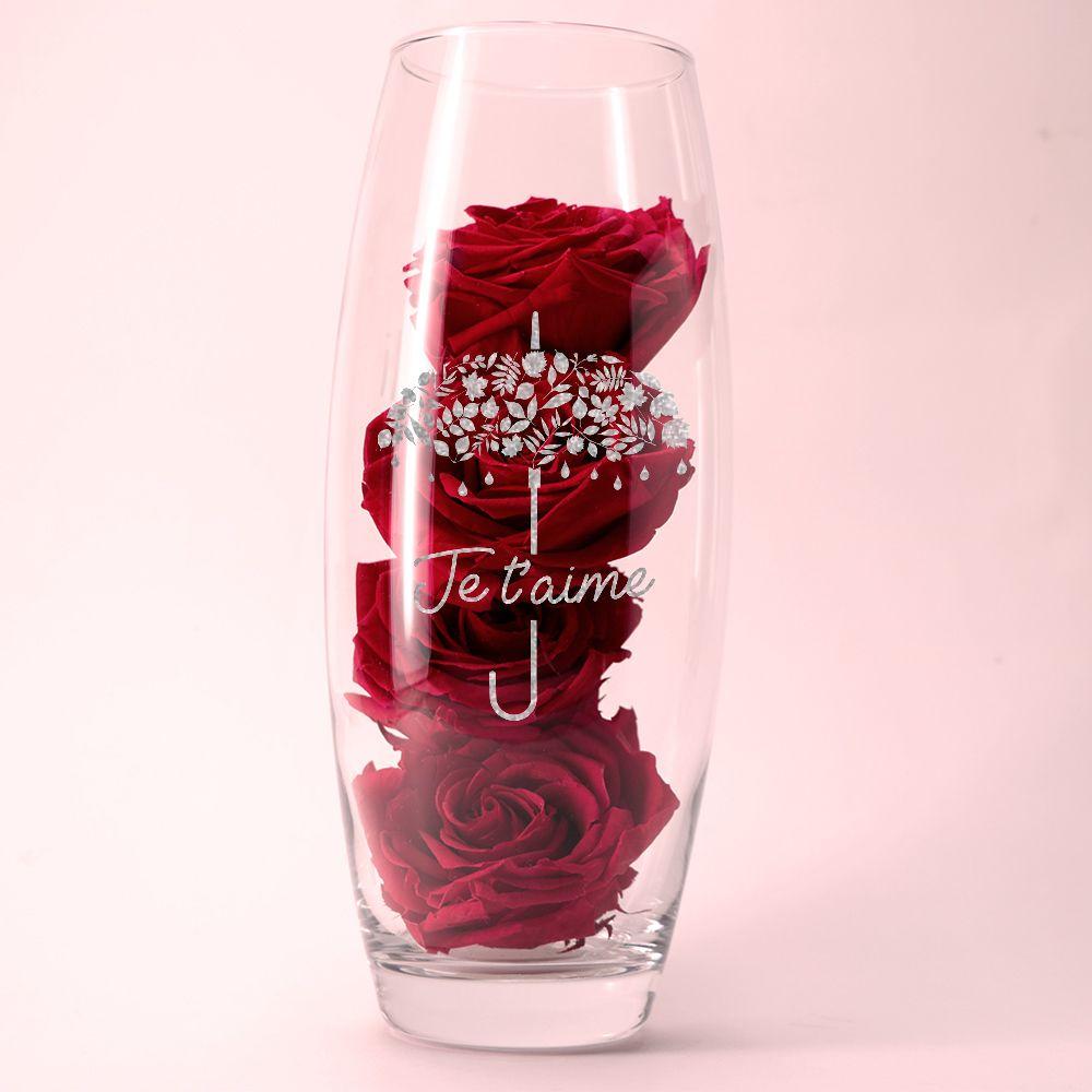 Roses rouges éternelles et leur vase gravé personnalisable