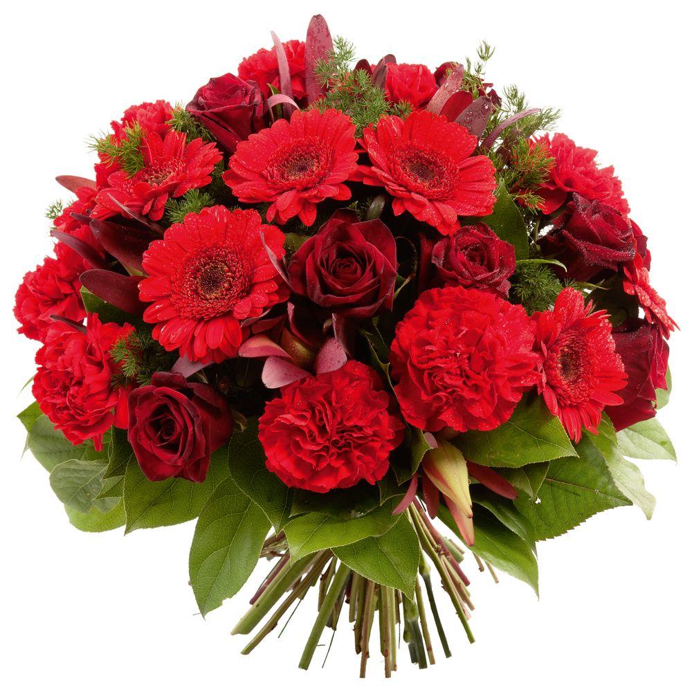 Bouquet rond à dominante rouge