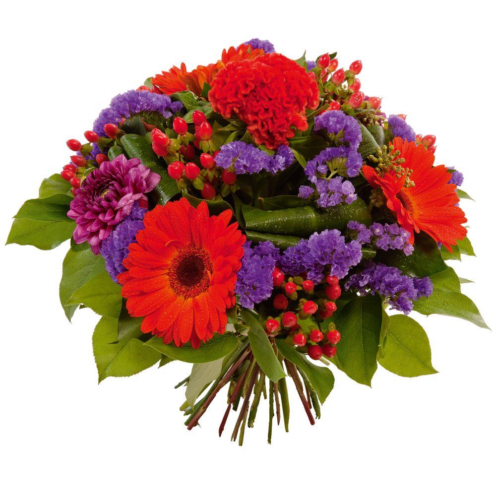 Bouquet rond à dominante rouge et violet