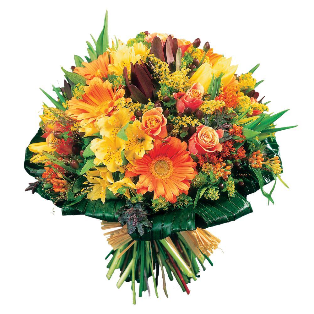 Bouquet rond à dominantes jaune et orange