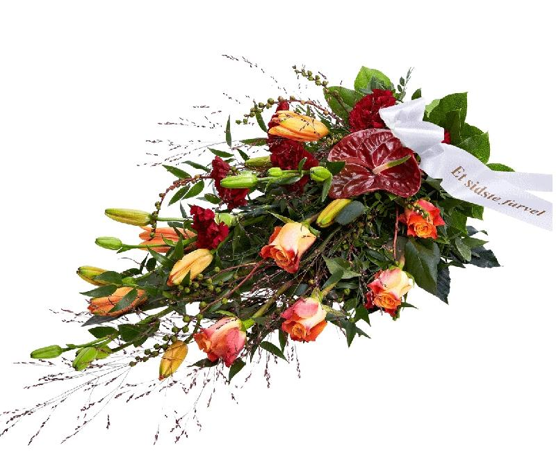 Funeral Spray, Golden, with ribbon