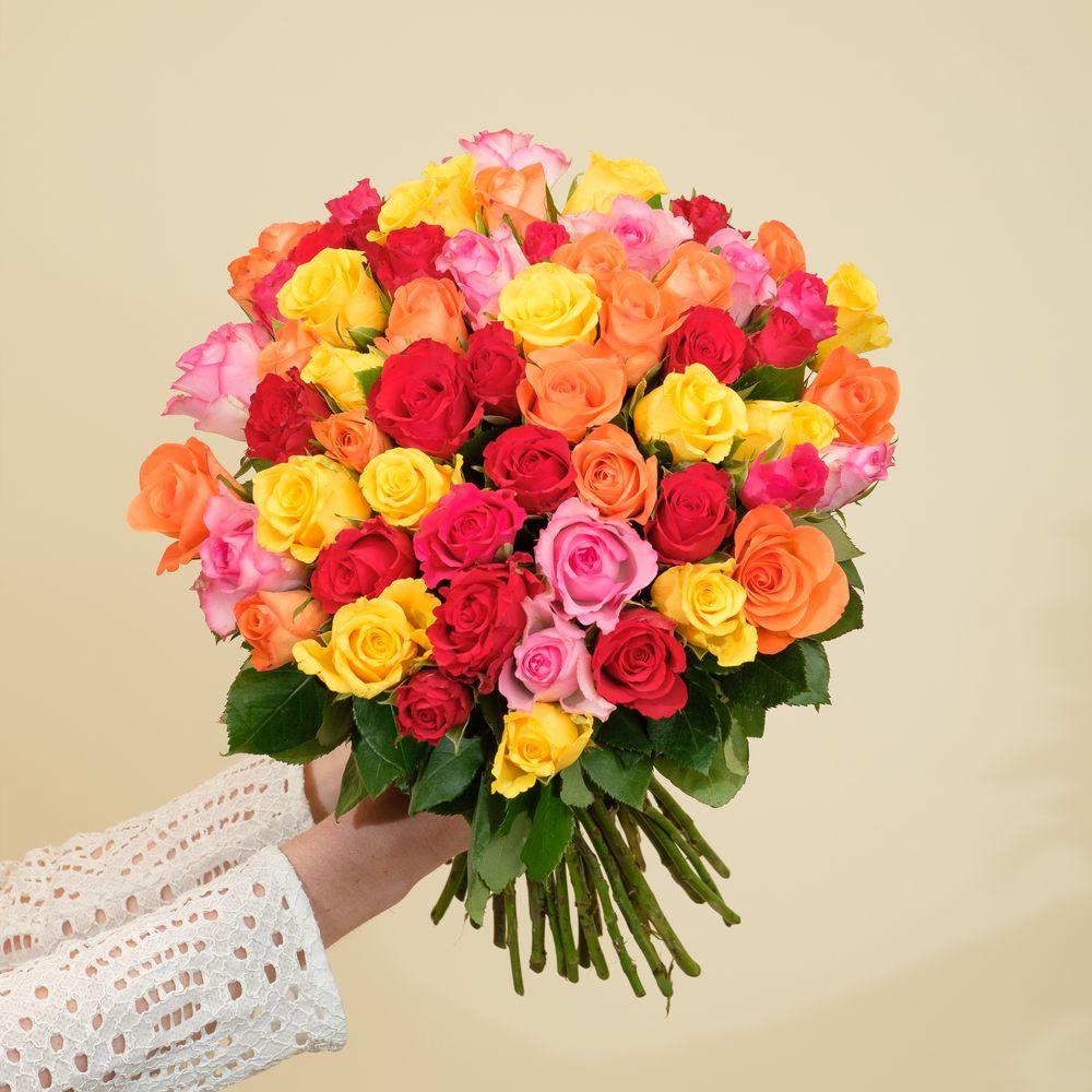 Brassée de 40 roses multicolores Max Havelaar