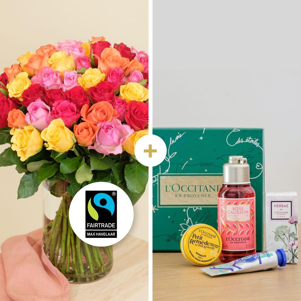 Brassée de roses multicolores et son coffret L'occitane en Provence