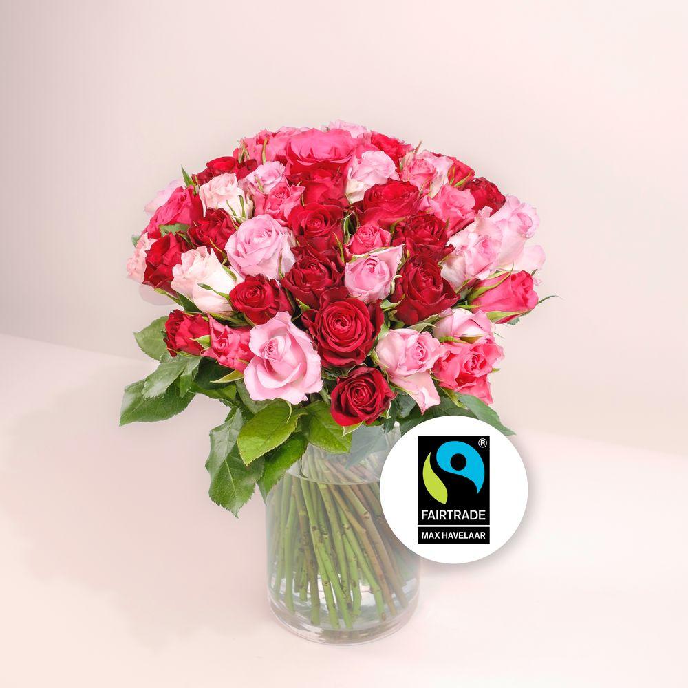 Brassée de roses roses Max Havelaar