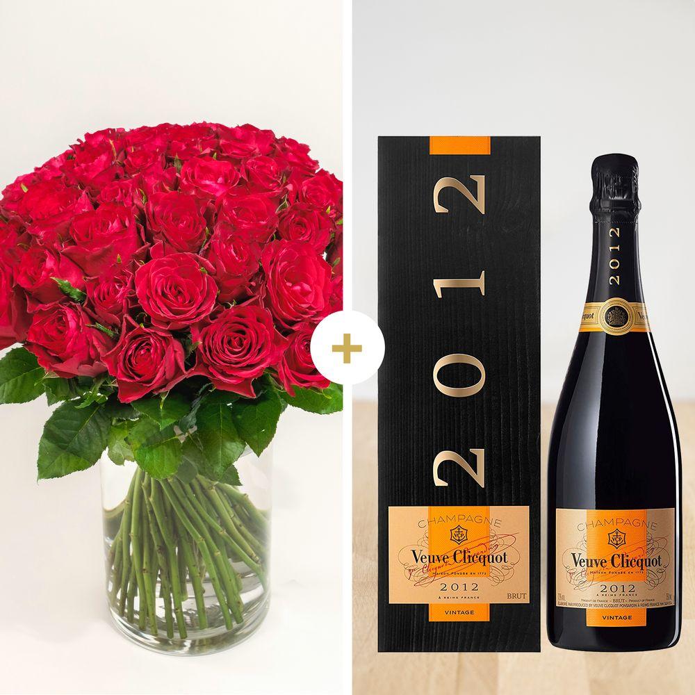 Brassée de roses rouges et son champagne Veuve Clicquot Vintage