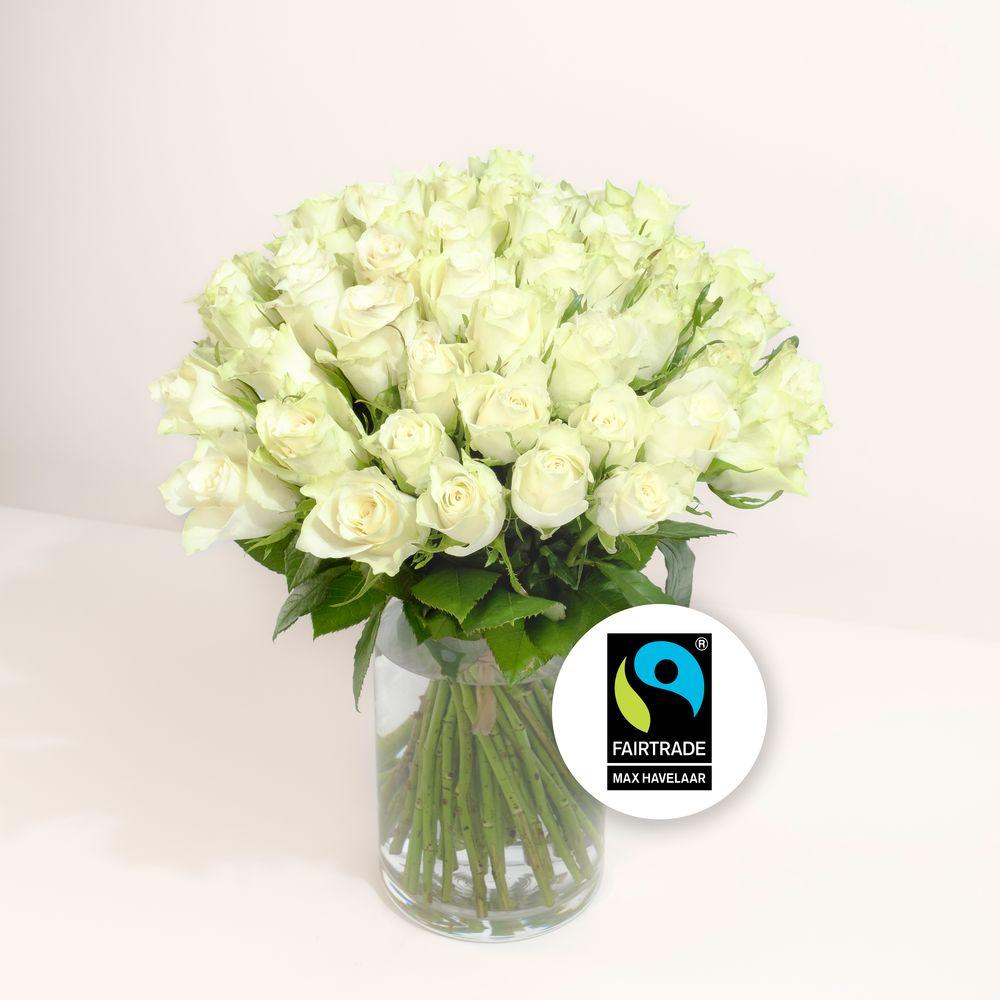 Brassée de roses blanches Max Havelaar