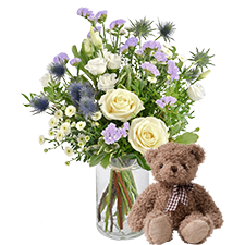 Bouquet de fleurs Blueberry et son ourson Harry