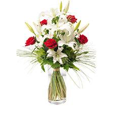Bouquet moyennes tiges classique de lys blancs et roses rouges
