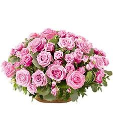 Panier de roses roses