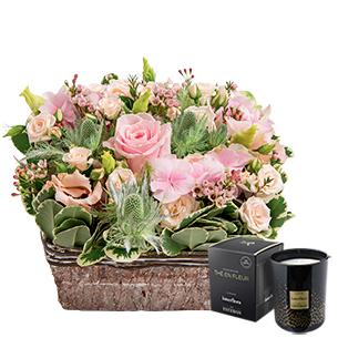 Fleurs et cadeaux Nuage de tendresse & bougie parfumée Fête des Mères