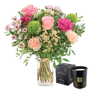 Fleurs et cadeaux Tendre bisou et sa bougie parfumée Fête des Mères