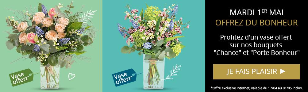 Profitez d'un vase offert sur nos bouquets Chance et Porte Bonheur