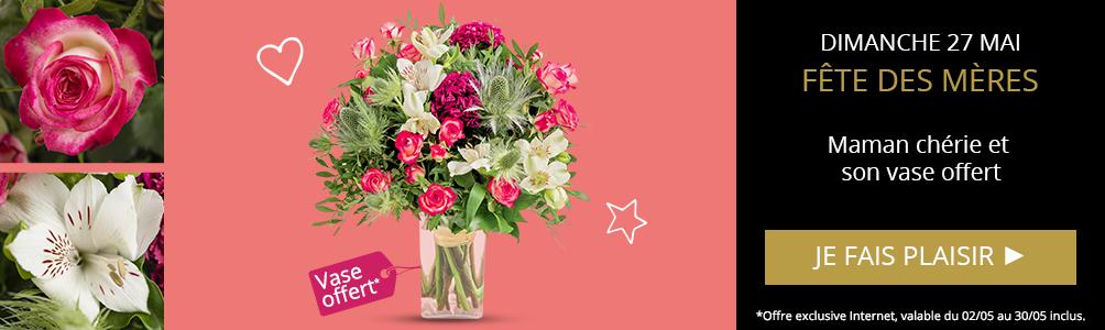 Profitez d'un vase offert sur notre bouquet Maman chérie