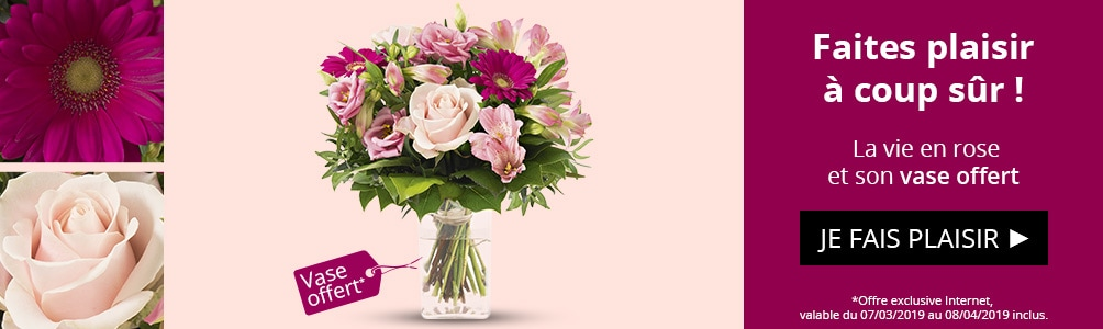 La vie en rose et son vase offert