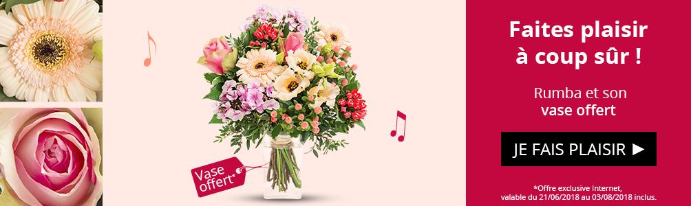 Profitez d'un vase offert sur notre bouquet Rumba