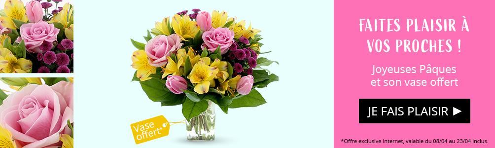 Joyeuses Pâques et son vase offert