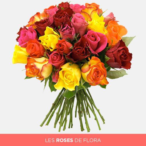 Bouquet De Roses Multicolores De 30 A 50 Roses Livraison Par