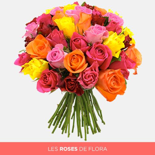 Bouquet De Roses Multicolores 10 Roses Offertes Interflora