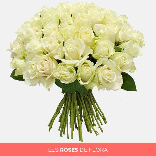 Un beau bouquet de roses blanches sera synonyme de pureté et de sincérité