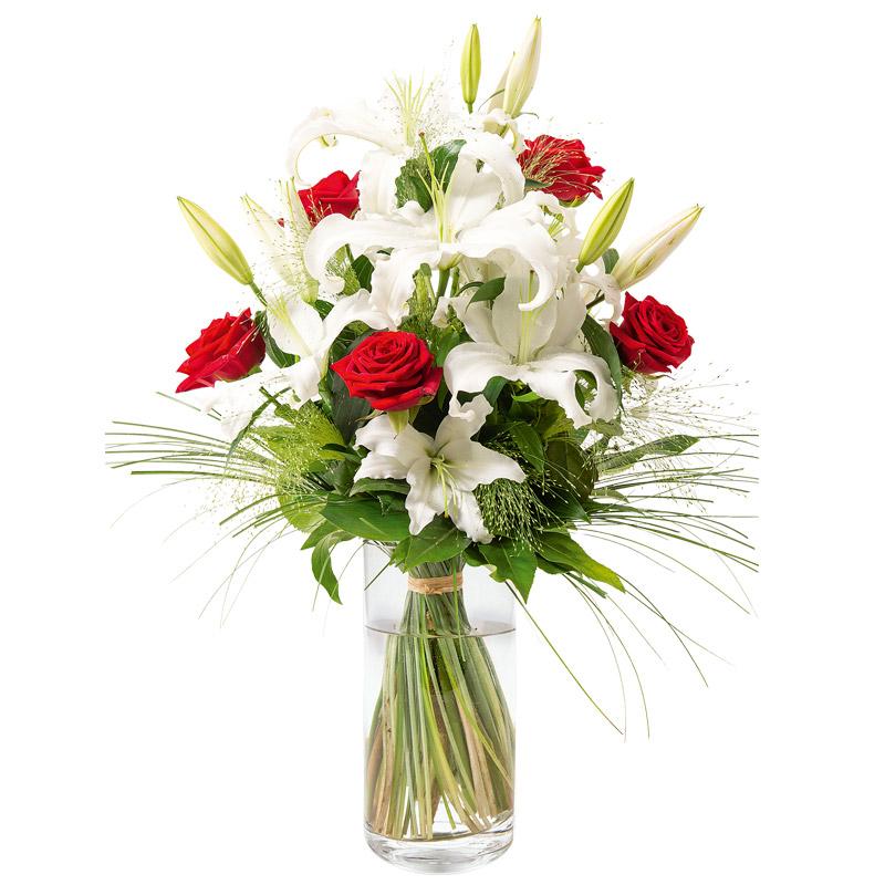 bouquet lys et rose bouquet blanc interflora. Black Bedroom Furniture Sets. Home Design Ideas