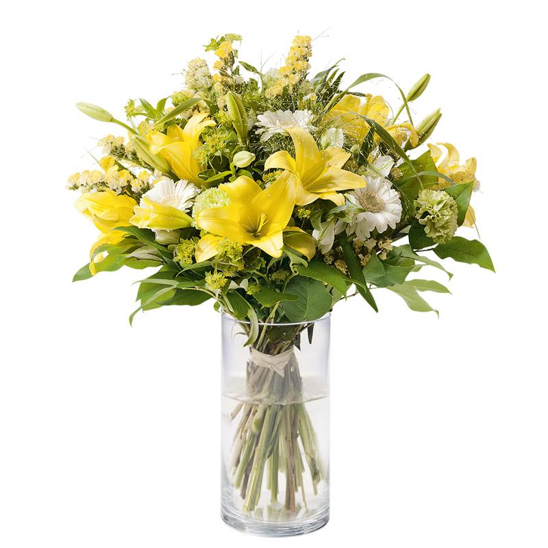 bouquet lys et statice bouquet romantique jaune interflora. Black Bedroom Furniture Sets. Home Design Ideas