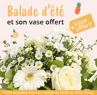 Découvrez notre bouquet Balade d'été et son vase offert