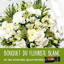 Fleurs et cadeaux Bouquet du fleuriste blanc et ses amandes gourmandes