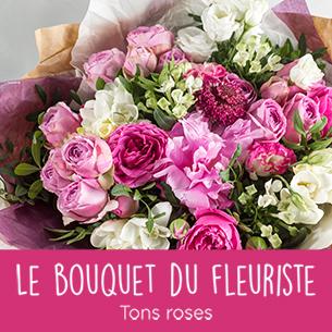 Bouquet de fleurs Fête des Mères - Bouquet du fleuriste Tons roses Fête des Mères