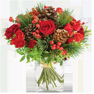 Bouquet de roses Au coin du feu Cadeaux pour les fêtes de fin d'année