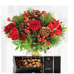 Bouquet de roses Au coin du feu et ses amandes au chocolat
