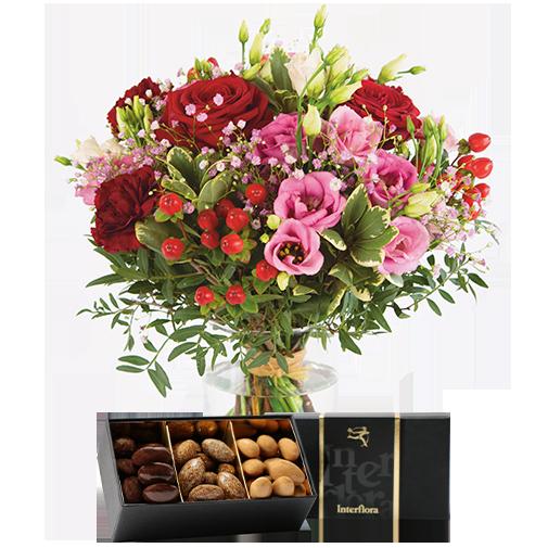 Bouquet de roses Kiss et ses amandes au chocolat
