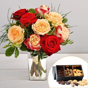 Bouquet de roses Abricotine et ses amandes au chocolat Cadeaux d'affaires Pros
