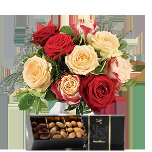 Bouquet de roses Abricotine et ses amandes au chocolat Fête des Pères