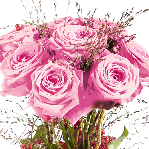 Bouquet de roses Audace rose et son écrin d'amandes gourmandes