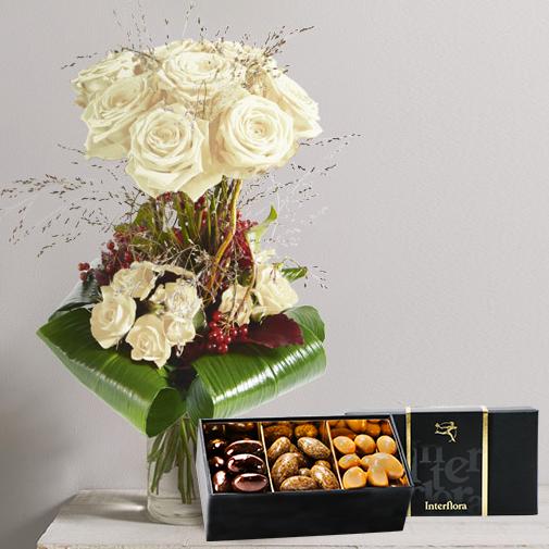 Bouquet de roses Audace blanc et son écrin d'amandes gourmandes