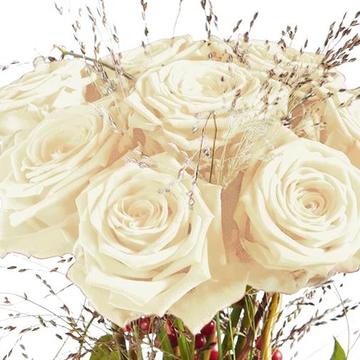 Bouquet de roses Audace blanc et son écrin d'amandes au chocolat