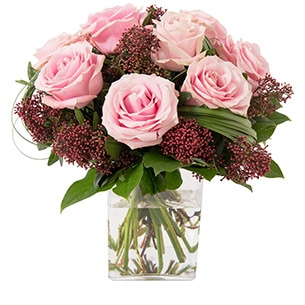 Bouquet de roses Capri rose Naissance bébé fille