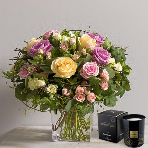 Bouquet de roses Charme et sa bougie parfumée Interflora par Esteban