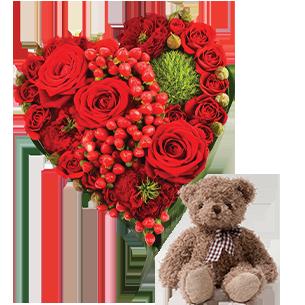 Bouquet de roses Cupidon et son ourson Harry ourson