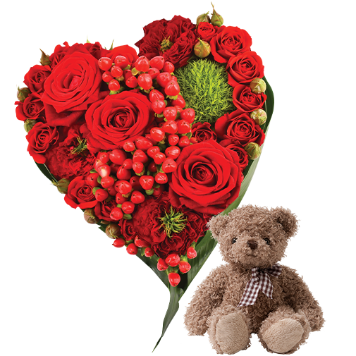 Bouquet de roses Cupidon et son ourson Harry
