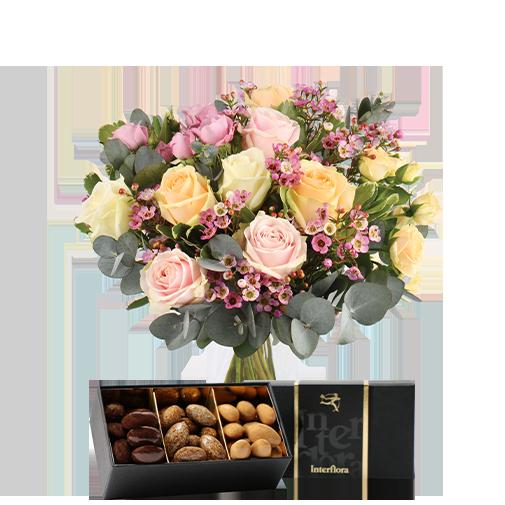 Bouquet de roses Délicatesse et ses amandes au chocolat