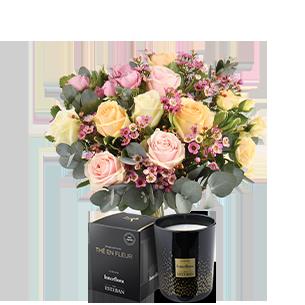 Bouquet de roses Délicatesse et sa bougie parfumée Esteban Mariage