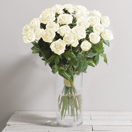 Bouquet de roses Passion blanc