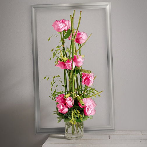 Bouquet de roses Plume rose