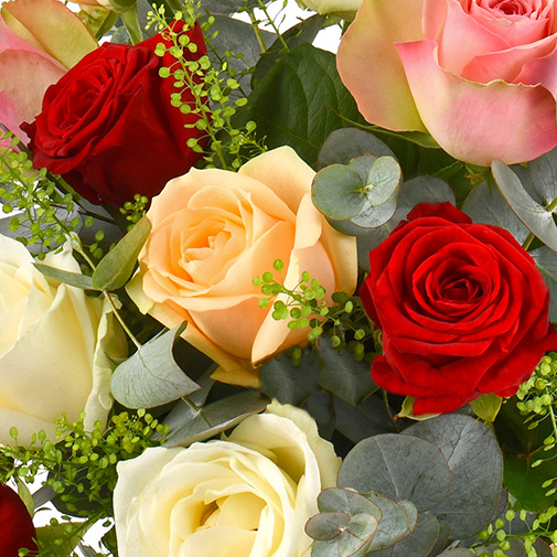 Bouquet de roses Rouge pastel et sa bougie parfumée Esteban