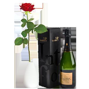 Bouquet de roses Rose rouge et son champagne Devaux