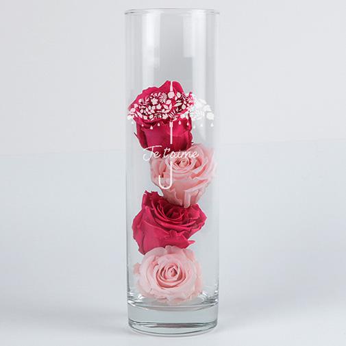 Fleurs et cadeaux Roses éternelles et leur vase gravé Je t'aime