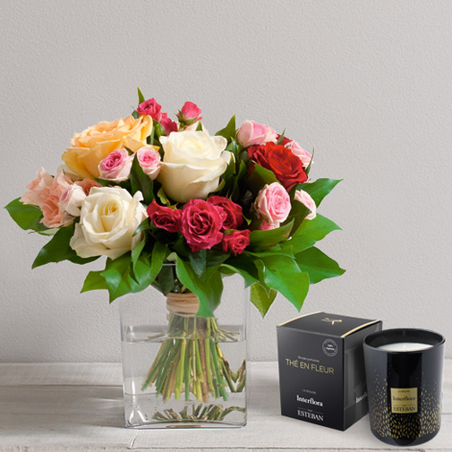 Bouquet de roses Sentiment et sa bougie parfumée Interflora par Esteban